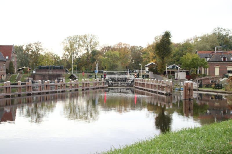 Sluice complex in River Hollandsche IJssel at Gouda named Gojanverwerllesluis where the tide in the river stops. stock images