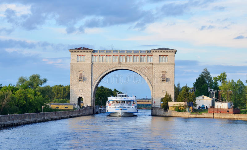 Sluice Gates on the River Volga, Russia with cruise boat royalty free stock photos