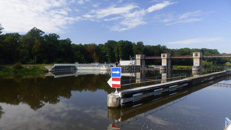 Sluice. On river Labe - CPL royalty free stock image