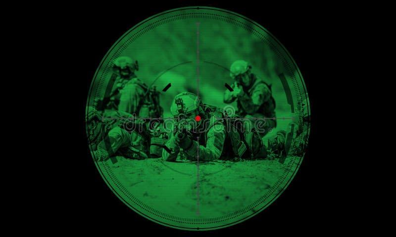 Sluipschutter tijdens de gijzelaarsredding van de nachtverrichting mening door Ni royalty-vrije stock afbeeldingen