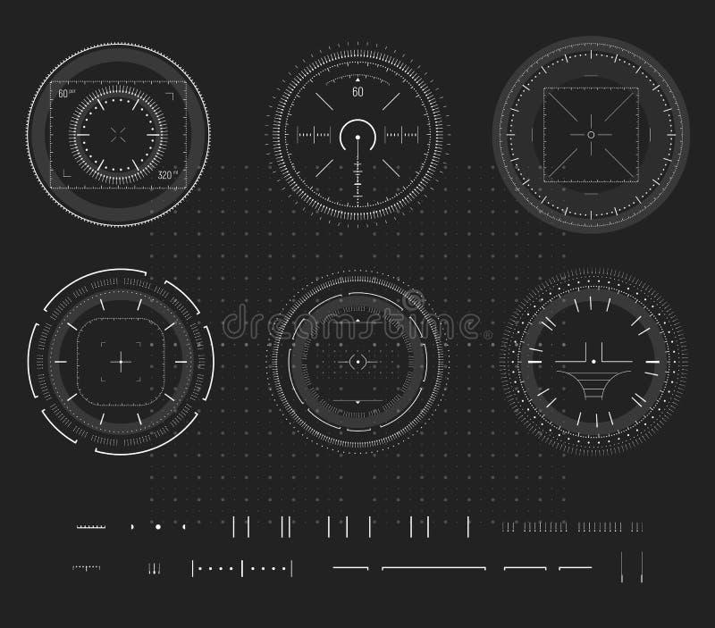 Sluipschutterdoel, digitale slimme apparatenvertoning, infographic HUD, ontwerpelement Het schieten van waaier, doel, de inzameli vector illustratie
