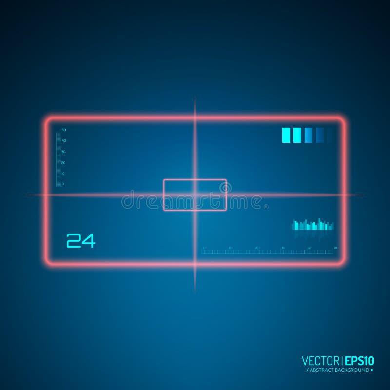 Sluipschutterwerkingsgebied Het concept van het neondoel Het element van de spelinterface Vector royalty-vrije illustratie