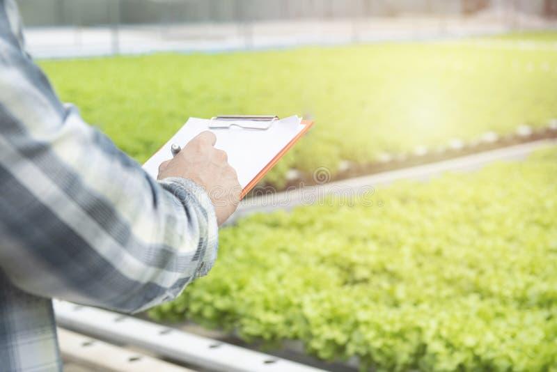 Sluit de aziatische man af met papieren documenten met een pen en schrijf een aantekeningen rapport over de kwaliteit van groene o stock afbeeldingen