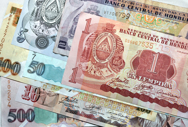 Sluit lempira van geldHonduras omhoog nota's stock foto
