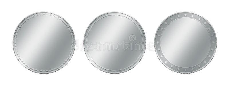 Sluit malplaatje van drie omhoog het verschillende zilveren grijze metaal lege muntstukken of ken voltooiingskentekens toe royalty-vrije illustratie