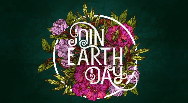 Sluit me aan Aarde bij Dag Het malplaatje van de affiche royalty-vrije illustratie