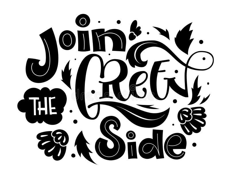 Sluit me aan bij de Groene Zijtekstslogan - trekt de vriendschappelijke hand van Eco het van letters voorzien zwart-wit uitdrukki stock illustratie