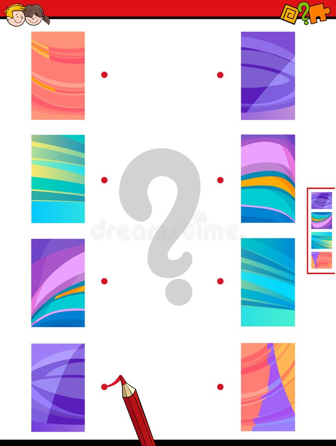 Sluit me aan de helften bij spel van abstracte beelden stock illustratie