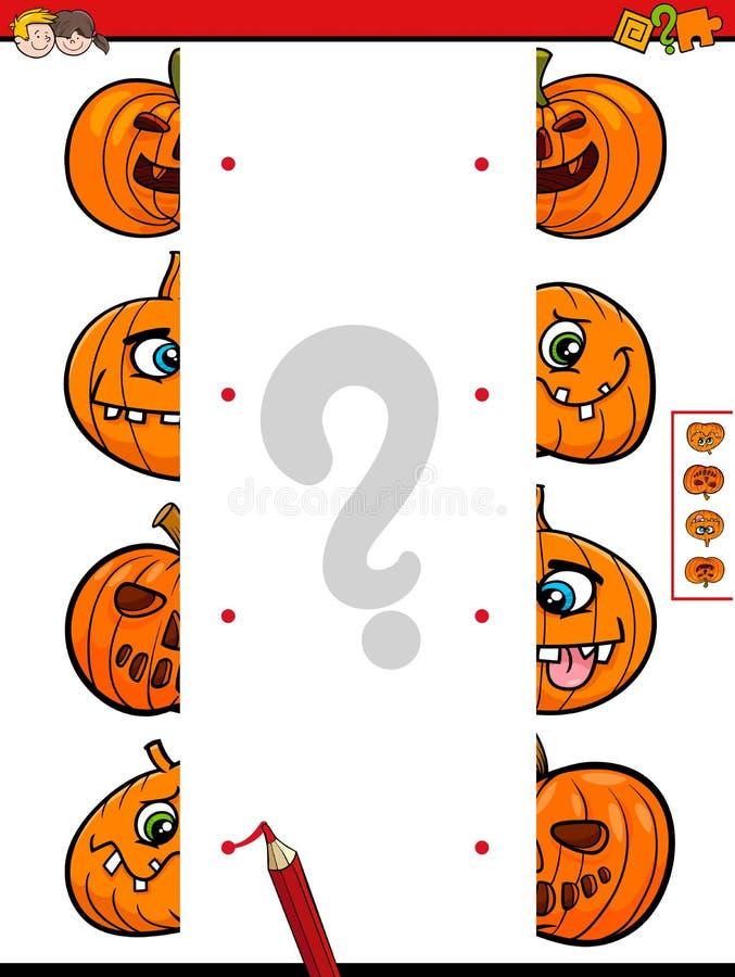 Sluit me aan de helften bij spel van Halloween-pompoenen vector illustratie
