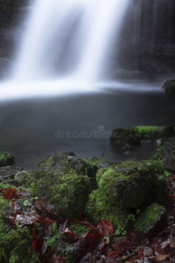 Sluit mos behandelde omhoog rotsen en waterval op achtergrond royalty-vrije stock foto's
