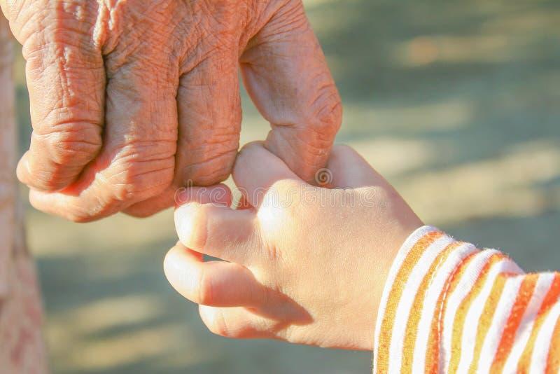 Sluit omhoog Aziatische grootmoeder en kleinkindholdingshanden stock foto