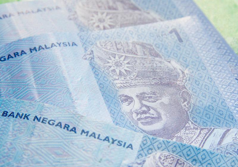 Sluit omhoog beeld van Maleise ringgit muntbankbiljetten royalty-vrije stock foto