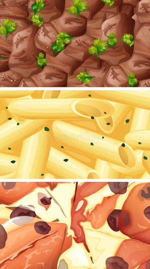 Sluit omhoog beeld van verschillend soort voedsel vector illustratie