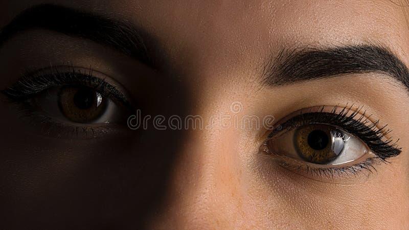 Sluit omhoog beeld van vrouwelijk bruin ogenart. royalty-vrije stock foto