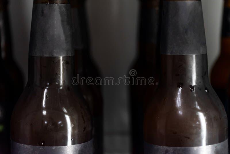 Sluit omhoog Bierfles zonder embleem in ijskast stock foto's