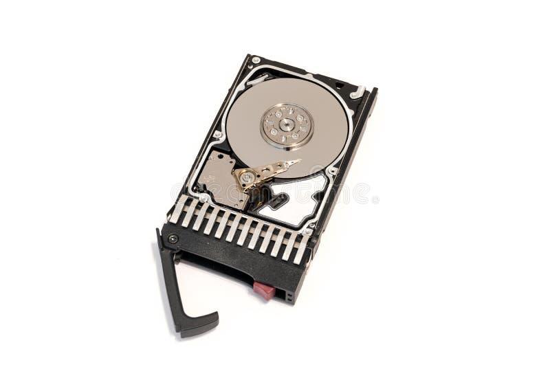 Sluit omhoog binnen van hete stopsas computerdiskdrive HDD in geïsoleerd dienblad royalty-vrije stock afbeeldingen