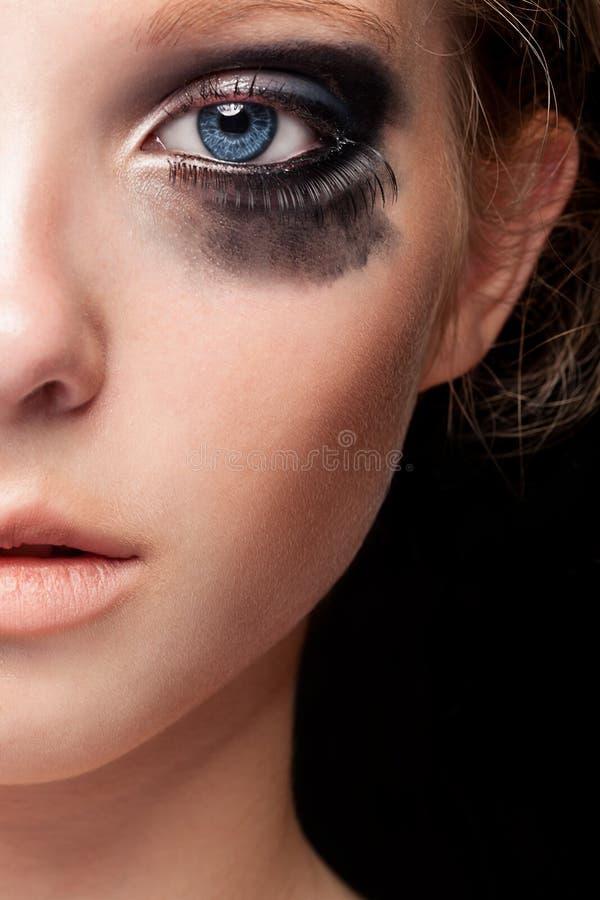 Sluit omhoog blauw oog en schreeuwend maak omhoog royalty-vrije stock afbeelding