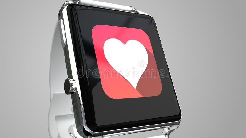 Sluit omhoog blauw slim horloge met geschiktheidsapp pictogram op het scherm stock illustratie