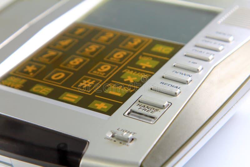 Sluit omhoog blauw toetsenbord, landline voor mededeling stock afbeeldingen