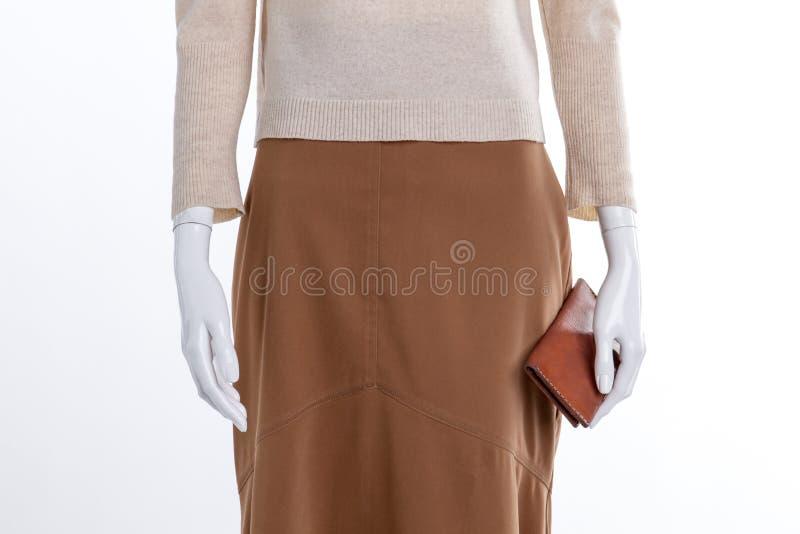 Sluit omhoog bruine rok en portefeuille royalty-vrije stock foto's