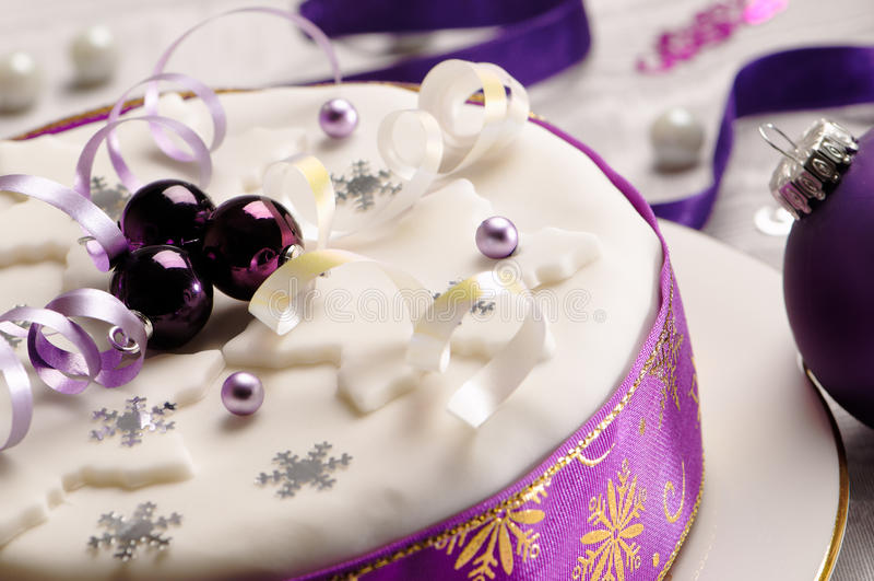 Sluit omhoog de Cake van Kerstmis royalty-vrije stock fotografie
