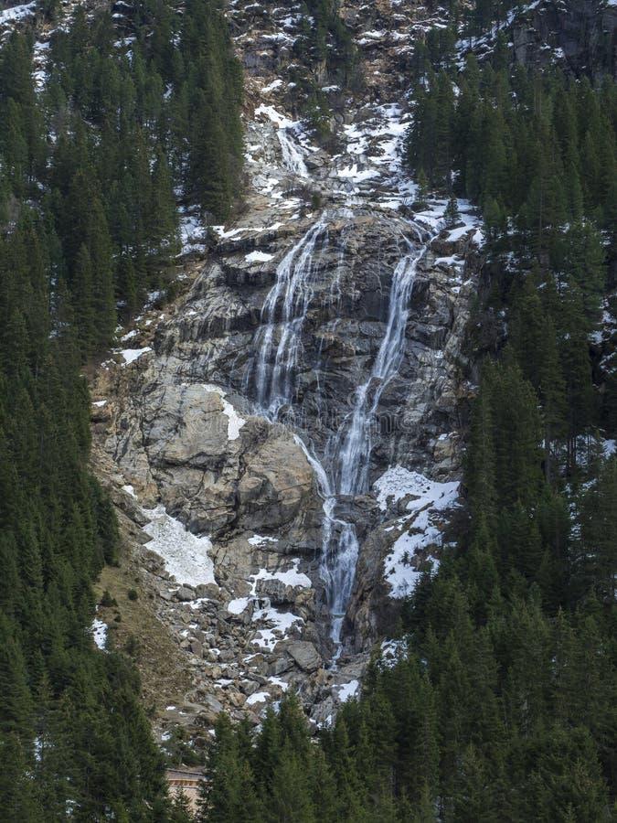 Sluit omhoog de Gletsjerwaterval van GRAWA Wasserfall in Stubai-Vallei, Tirol, Oostenrijk wordt gesitueerd dat De rivier en de bo royalty-vrije stock afbeelding