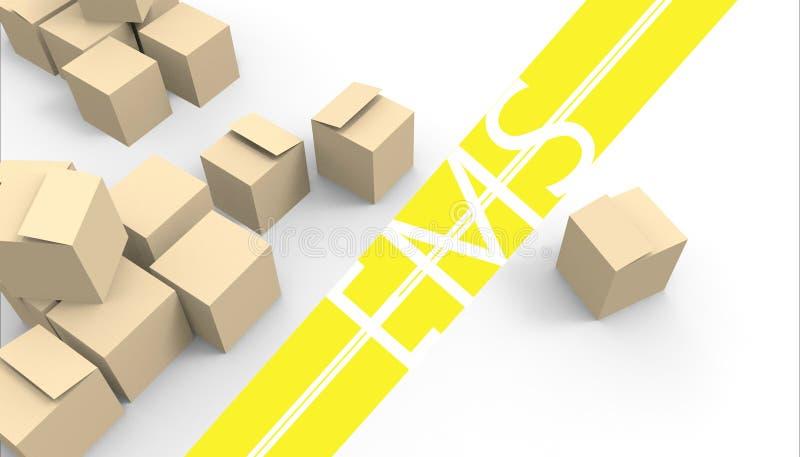 Sluit omhoog de Groepen van het dozenpakket, Pakketpakket van een stapel op witte achtergrond royalty-vrije illustratie