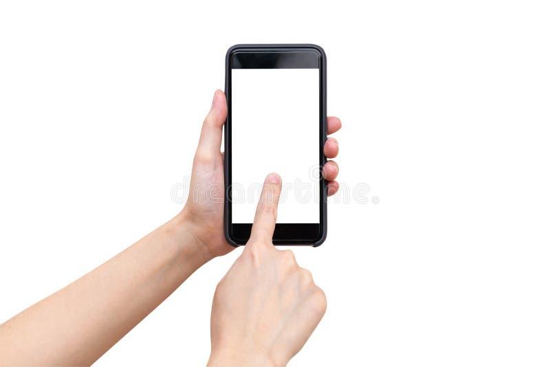 Sluit omhoog de holding van de handvrouw en het gebruiken van telefoon op geïsoleerd met cli royalty-vrije stock fotografie
