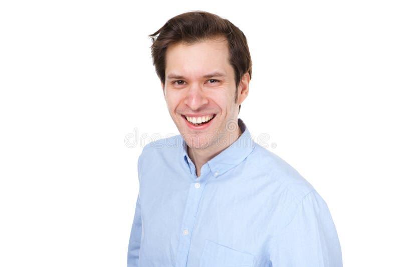 Sluit omhoog de positieve bedrijfs toevallige mens die op witte achtergrond glimlachen royalty-vrije stock afbeelding