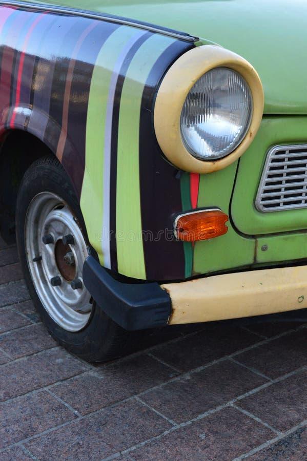 Sluit omhoog detail Trabant voor Huur Warshau Polen 1 royalty-vrije stock foto