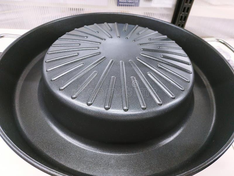 Sluit omhoog elektrische het ijzerpan van de grillbarbecue stock afbeelding