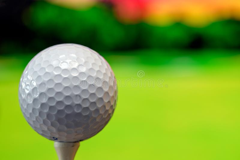 Sluit omhoog foto van een golfbal in de golfcursus in een warm zonsonderganglicht stock afbeelding