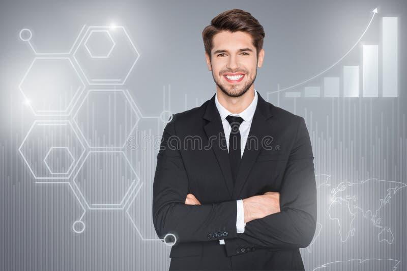 Sluit omhoog gemengde creatieve ontwerp gestileerde grafische virtuele zekere affichefoto hij hem zijn bedrijfskerel sociale mark vector illustratie