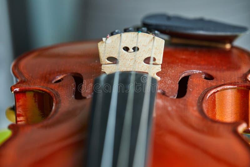 Sluit omhoog geschoten van een viool, zeer zachte def van gebied royalty-vrije stock afbeeldingen