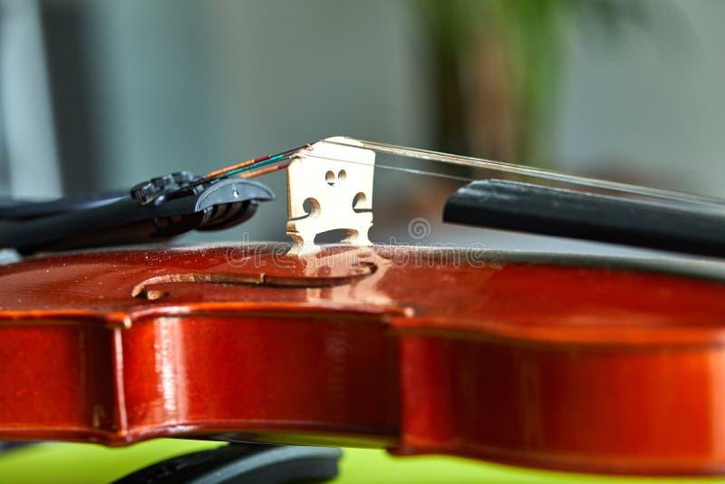 Sluit omhoog geschoten van een viool, zeer zachte def van gebied royalty-vrije stock foto