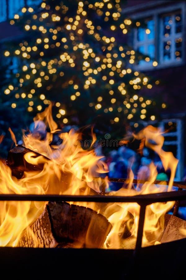 Sluit omhoog geschoten van het branden van brandhout in de open haard royalty-vrije stock foto