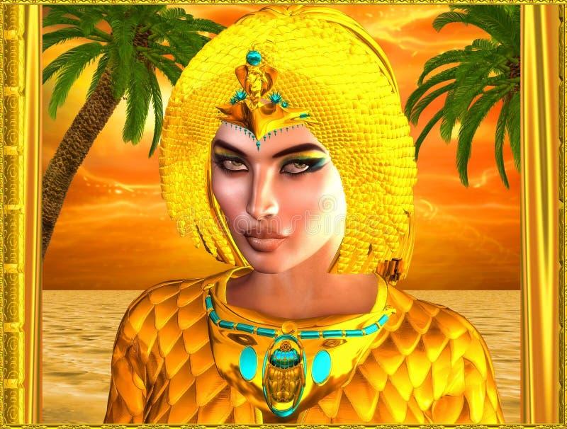 Sluit omhoog gezicht van Egyptische koninklijke vrouw stock illustratie