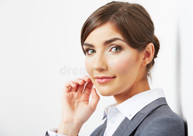 Sluit omhoog gezichtsportret van mooie bedrijfsvrouw stock afbeeldingen