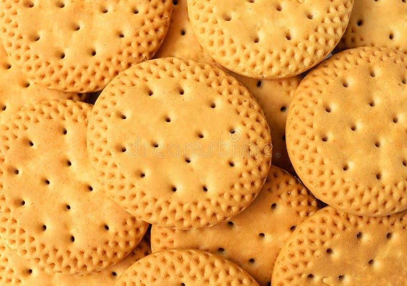 Sluit omhoog groep crackersachtergrond, Ronde crackers als backgro royalty-vrije stock fotografie