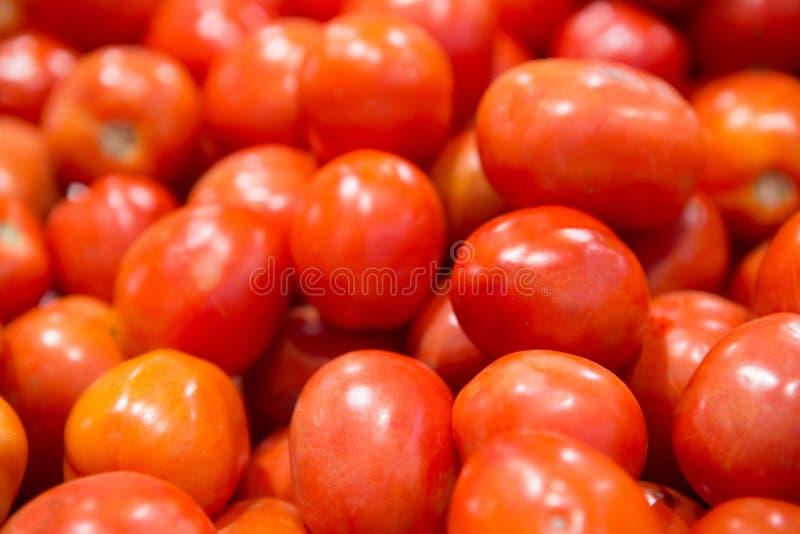 Sluit omhoog groep verse rode tomaten van organische groenten bij verse markt stock afbeelding