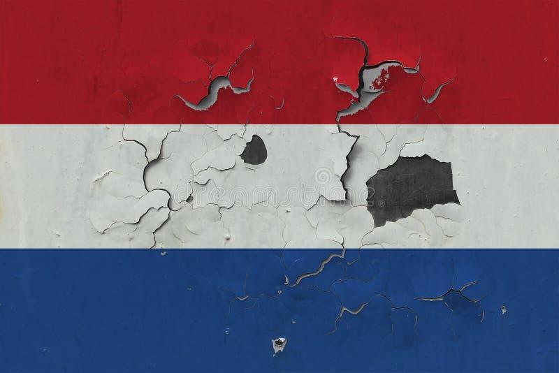 Sluit omhoog grungy, beschadigde en doorstane vlag van Nederland bij de muurschil van verf om binnenoppervlakte te zien stock illustratie