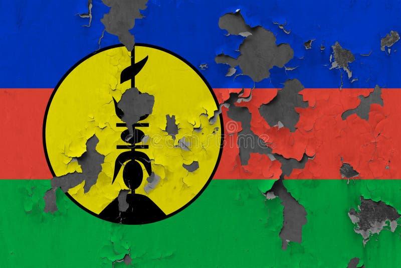 Sluit omhoog grungy, beschadigde en doorstane vlag van Nieuw-Caledonië bij de muurschil van verf om binnenoppervlakte te zien royalty-vrije illustratie