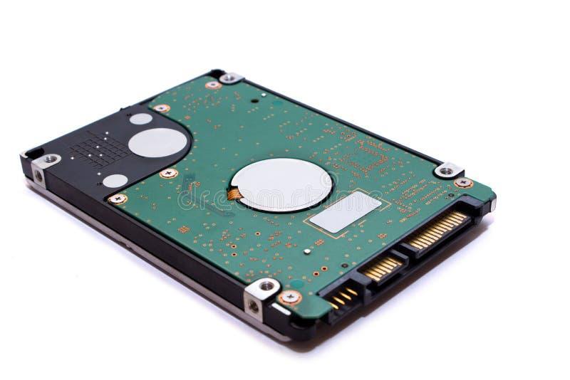 Sluit omhoog Harde schijfaandrijving voor de opslagtechnologie HDD van computergegevens met witte achtergrond wordt geïsoleerd di royalty-vrije stock foto's