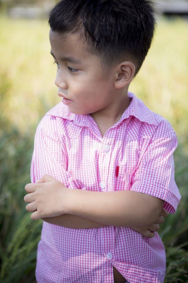 Sluit omhoog headshot van vrolijk Aziatisch kinderen toothy het glimlachen gezicht van gelukemotie stock afbeeldingen