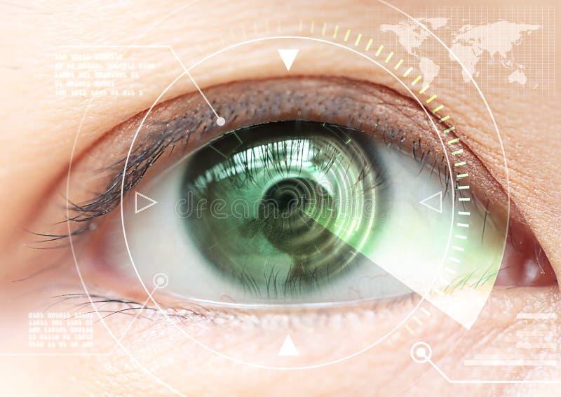 Sluit omhoog het aftastentechnologie van het vrouwenoog in futuristisch, operat royalty-vrije stock afbeeldingen