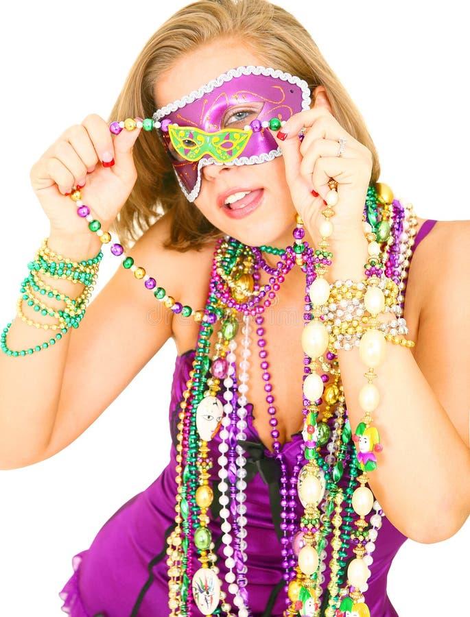 Sluit omhoog het Meisje van Mardi Gras royalty-vrije stock afbeelding