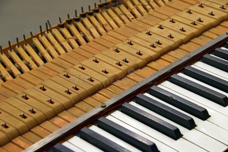Sluit omhoog het oude uitstekende pianotoetsenbord stemmen royalty-vrije stock foto