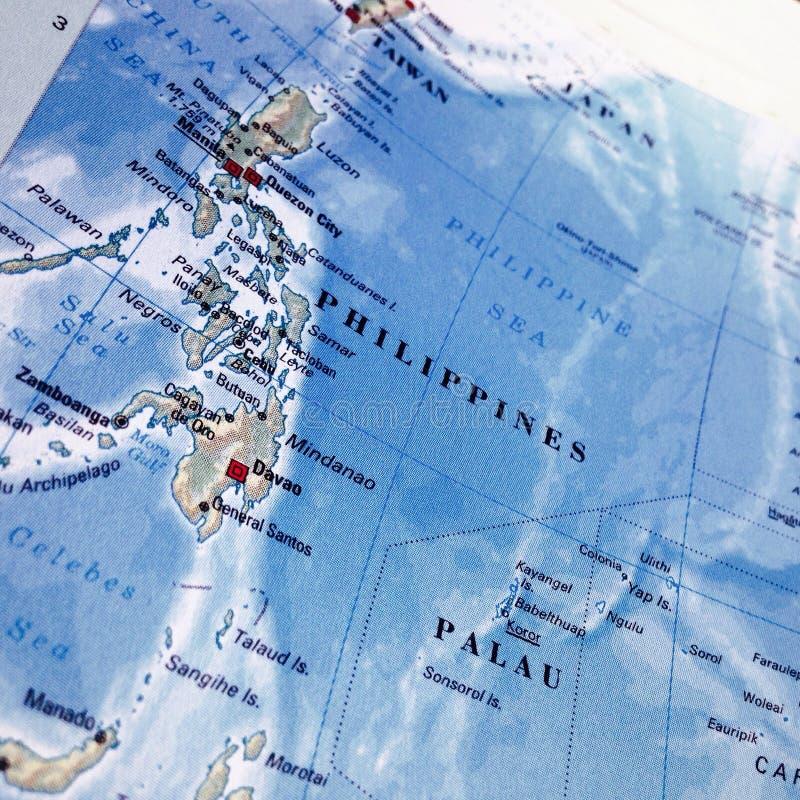 Sluit omhoog kaart van Filippijnen royalty-vrije stock afbeeldingen