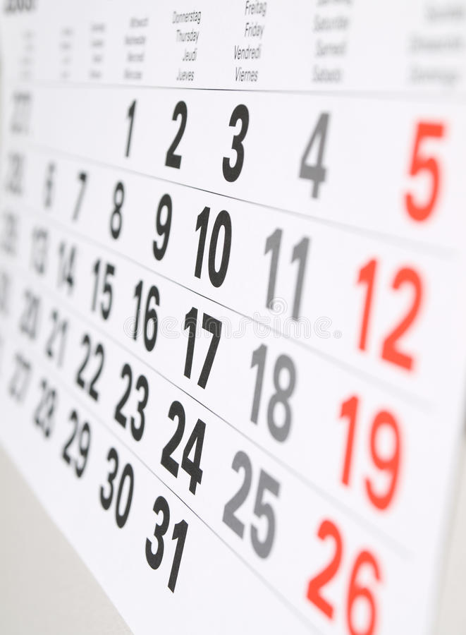 Sluit omhoog kalenderpagina stock foto's