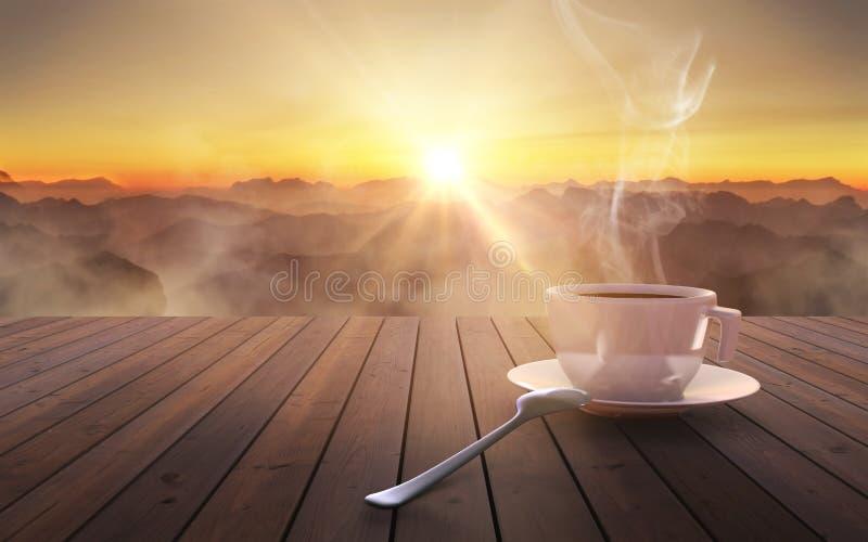 Sluit omhoog koffiekop op houten lijst bij zonsondergang stock afbeelding